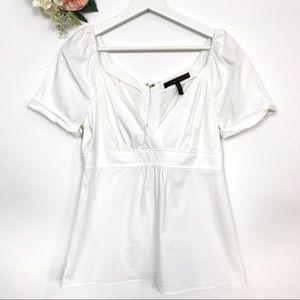 BCBGMaxAzria White Flare Blouse Women's Size S